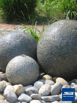 Gartenspringbrunnen Wasserspiel Granitkugel-Trio