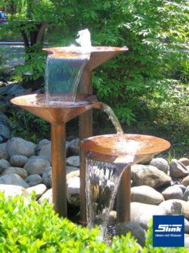 Gartenbrunnen Kupferwasserobjekt Kaskaden-Melodie 3-schalig