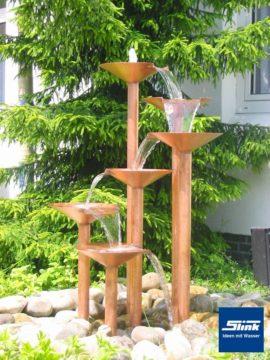 Gartenbrunnen Kupferwasserobjekt Kaskaden-Melodie 6-schalig