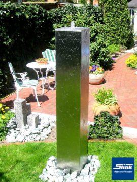 Brunnen Wasserobjekt Edelstahl-Monolith