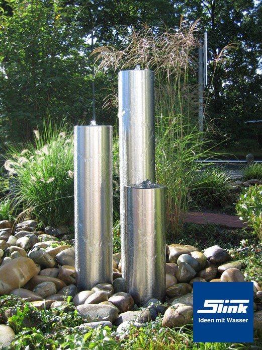 Springbrunnen Edelstahl-Wasserobjekt Trio-Säulen - Slink | Ideen mit ...