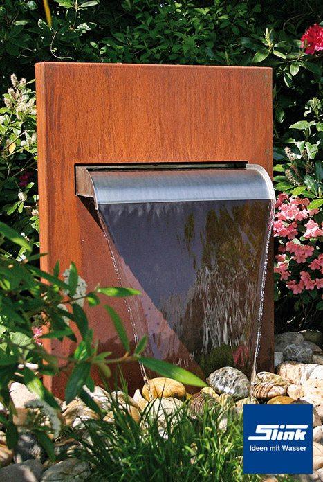 wasserfall-stele cortenstahl - slink | ideen mit wasser, Garten und bauen