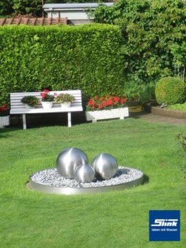 Gartenbrunnen Edelstahlkugel Trio Globus