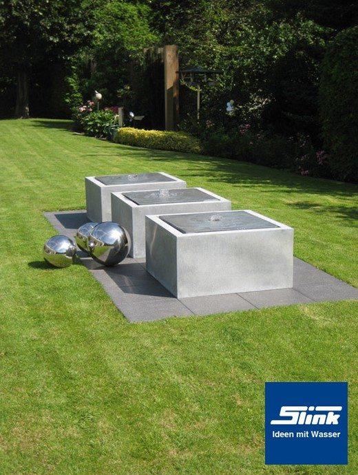 Komplettbrunnen Zink-Kubus-Tisch