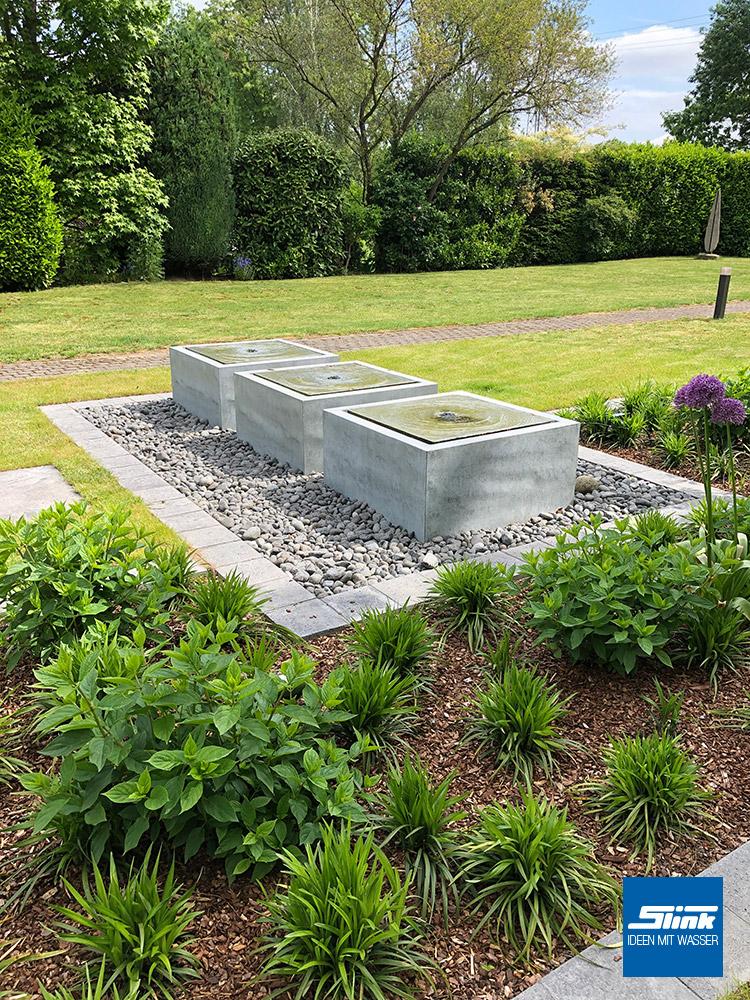 Springbrunnen Garten, Wassertisch, grau, Zinkbrunnen, Garten Brunnen, Wasserspiel