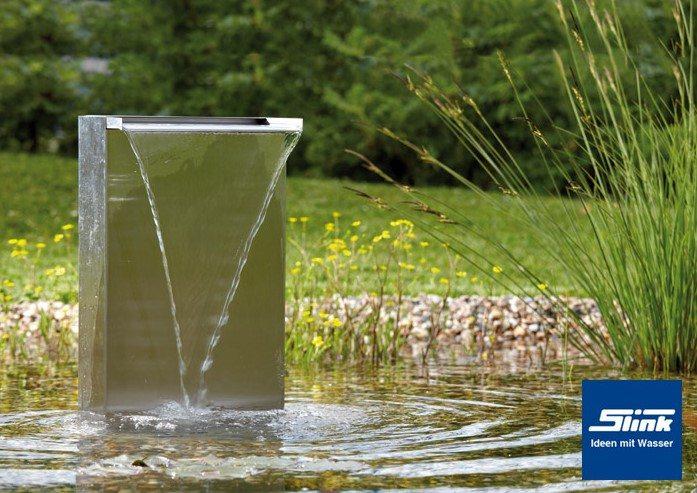 Wasserfall stele edelstahl 30 slink ideen mit wasser for Teich edelstahl