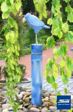 Gartenbrunnen Keramik-Wassersäule mit stehendem Vogel