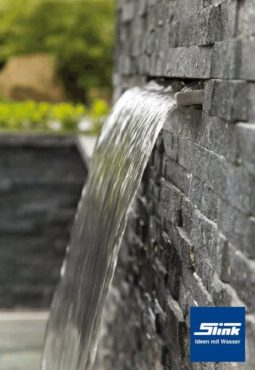 Edelstahl Wasserfall-Bauteil Victoria 120 cm LED