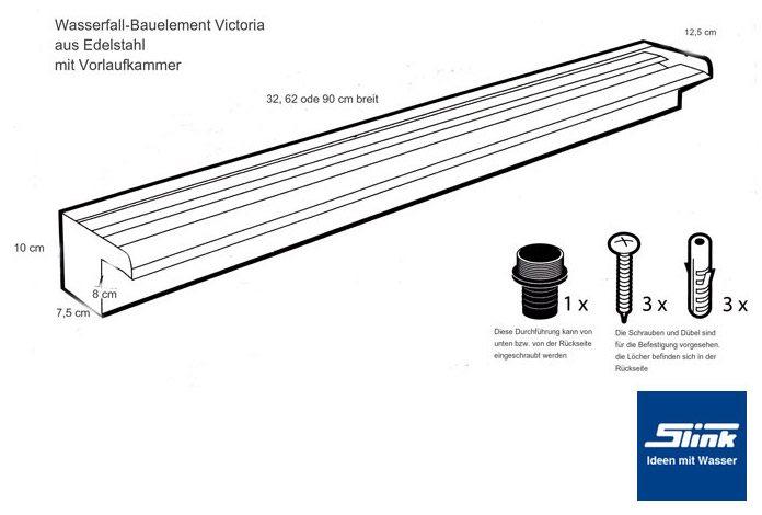 edelstahl wasserfall bauteil victoria 30 cm slink. Black Bedroom Furniture Sets. Home Design Ideas