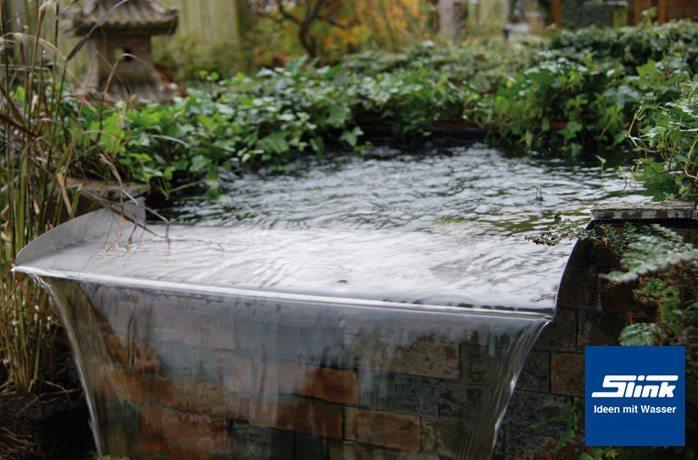 den gartenteich aufwerten: exklusiver edelstahl wasserfall, Garten und bauen