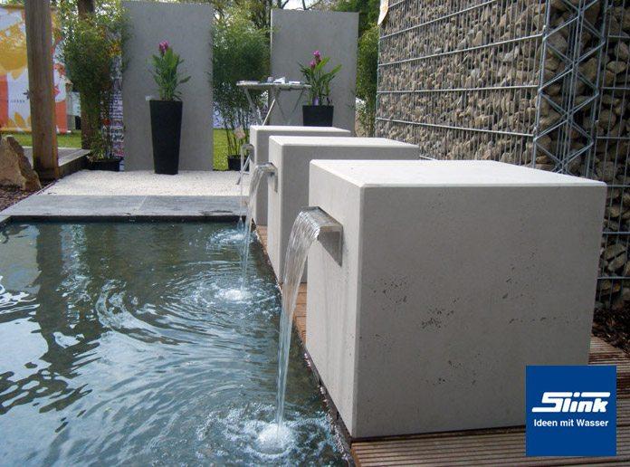 garten-wasserfall beton-kubus gropius - slink | ideen mit wasser, Garten und bauen