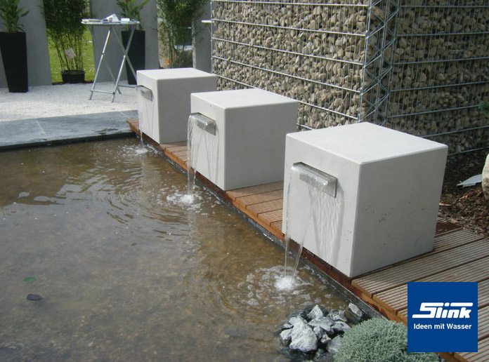 garten wasserfall beton kubus gropius 60 slink ideen mit wasser. Black Bedroom Furniture Sets. Home Design Ideas