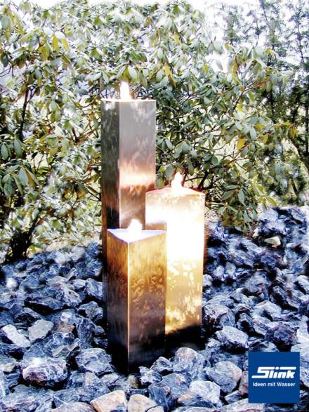 Springbrunnen Edelstahlbrunnen Triangle