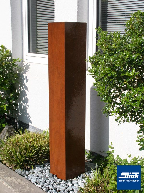 Gartenbrunnen Springbrunnen Cortenstahl-Monolith