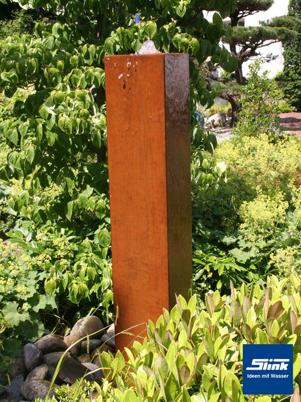 Gartenbrunnen springbrunnen cortenstahl monolith slink for Garten edelrost