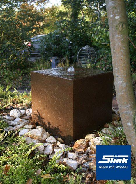 cortenstahlbrunnen gartenbrunnen cortenstahl-quader uno 50 - slink, Gartenarbeit ideen