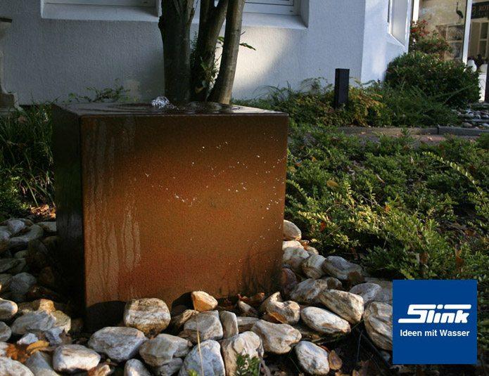 cortenstahlbrunnen gartenbrunnen cortenstahl-quader uno 50 - slink, Hause und Garten