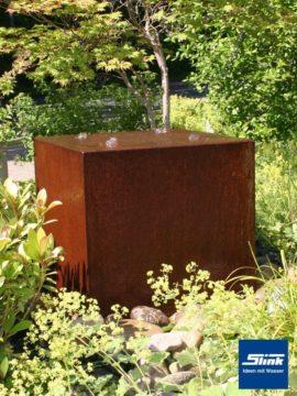 Gartenbrunnen Springbrunnen Cortenstahl-Quader Quattro 50
