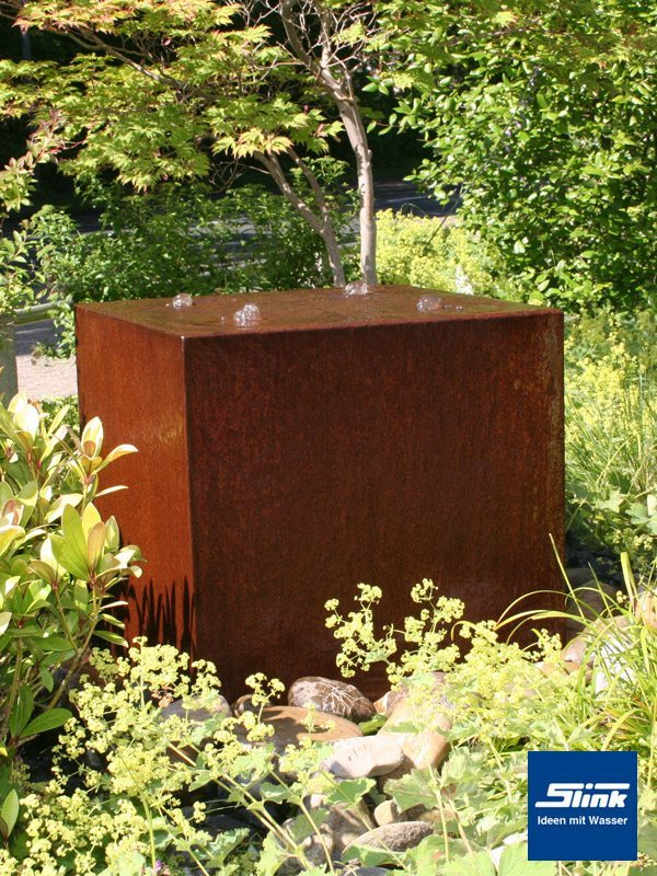 gartenbrunnen springbrunnen cortenstahl quader quattro 60 slink ideen mit wasser. Black Bedroom Furniture Sets. Home Design Ideas