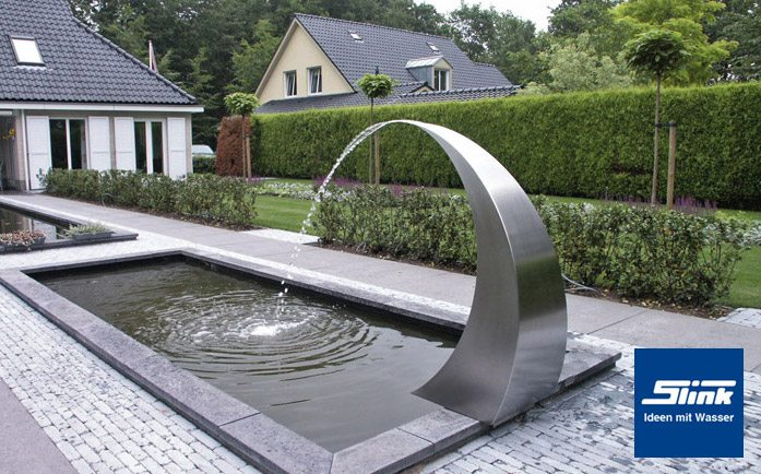 gartenbrunnen edelstahl wasserfall semi circle 120 slink. Black Bedroom Furniture Sets. Home Design Ideas
