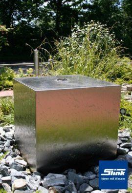 Gartenbrunnen Springbrunnen Edelstahl Kubus 40