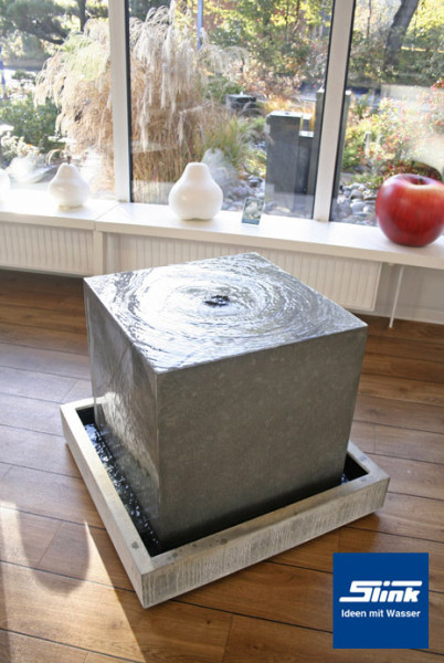 zimmerbrunnen zinkart quader indoor slink ideen mit wasser
