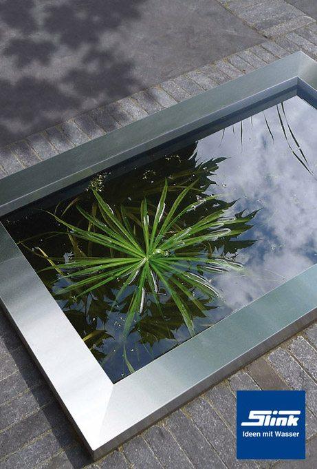 HDPE Wasserbecken mit Edelstahlumrandung 120 x 80 x 45 cm 365 Liter~ Edelstahl Teichbecken Rechteckig