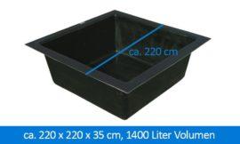 GFK-Teichbecken Wasserbecken quadratisch 220 x 220 x 35 cm 1400 Liter