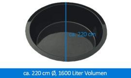 GFK-Teichbecken Wasserbecken rund 220 cm, 60 cm 1600 Liter