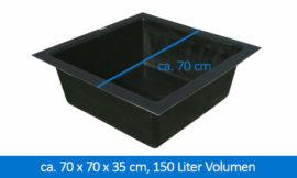 GFK-Teichbecken Wasserbecken quadratisch 70 x 70 x 35 cm 140 Liter