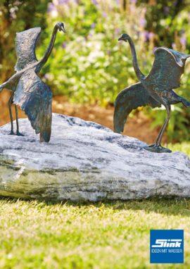 Bronzefigur Bronze-Graureiher Flügelschlag klein