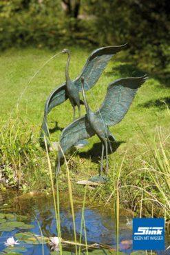 Bronzefigur Bronze-Graureiher Flügelschlag groß
