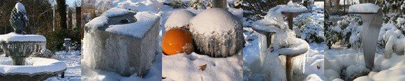 Brunnen und Wasserspiele im Winter