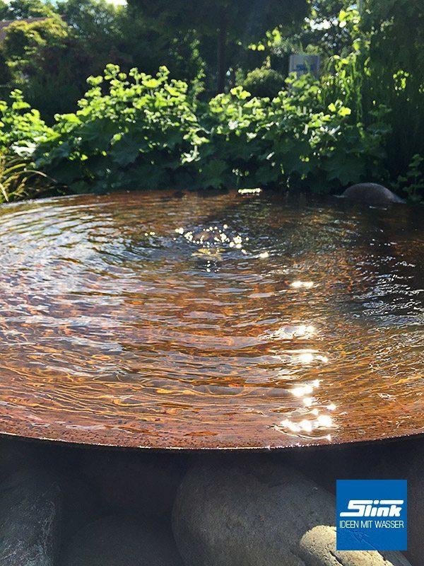 Cortenstahl-Wasserschale Cortenbrunnen Cortenschale Wasserschale mit Sprudler Fontäne Zen-Gartenbrunnen aus Cortenstahl