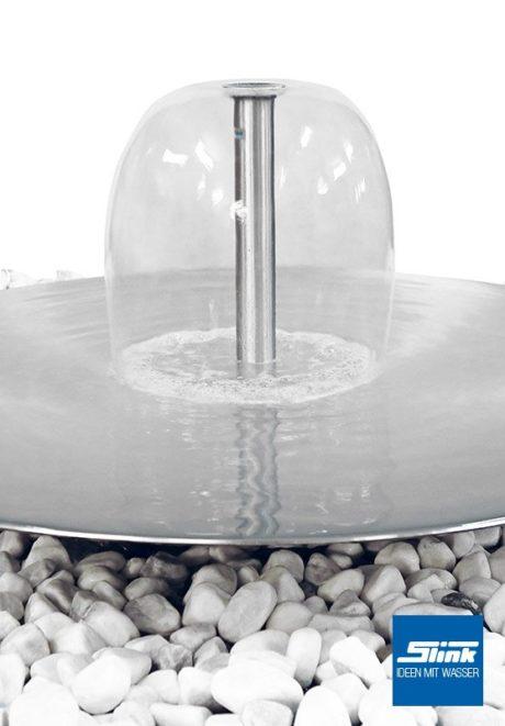 Edelstahl-Wasserschale mit Wasserglocke als Wasserspiel Gartenbrunnen Schale aus Edelstahl Edelsthlbrunnen Glockenbrunnen