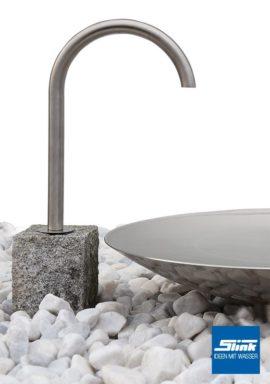 Gartenbrunnen Edelstahl-Wasserschale mit Auslaufhahn