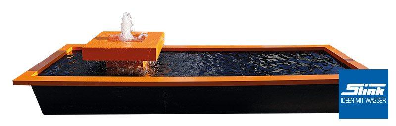 Gartenbrunnen inklusive Langformbecken aus GFK und Beckenumrandung Design farbig Alumento Aluminiumbrunnen