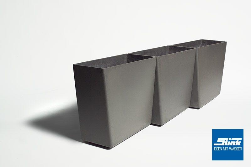 Designer-Pflanzgefäß Twista geometrischer moderner Pflanzkübel Eternit Swisspearl Gartendesign betonoptik Gartengestaltung