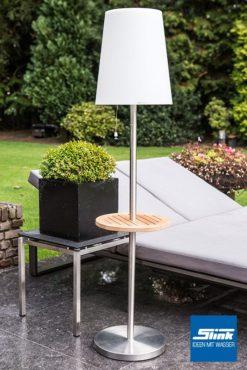 Lasolar Steh-Solarleuchte für den Garten groß mit Teakholztisch