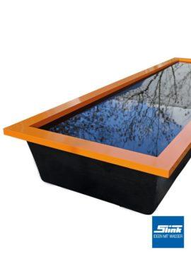 Beckenrandabdeckung Aluminium für GFK-Wasserbecken 200 x 100 x 35/60 cm