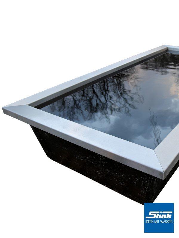 Edelstahl-Beckenrandabdeckung für GFK-Wasserbecken 200 x 100 x 35/60 cm