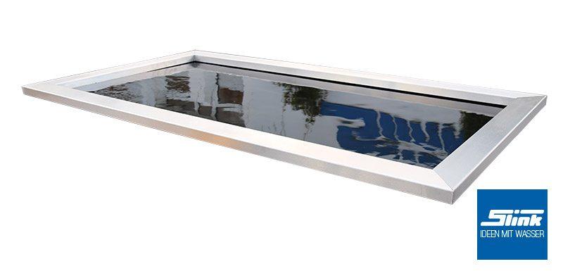 Edelstahlumrandung Beckenrandabdeckung aus Edelstahl für GFK-Becken Wasserbecken Teichbecken Edelstahlrahmen