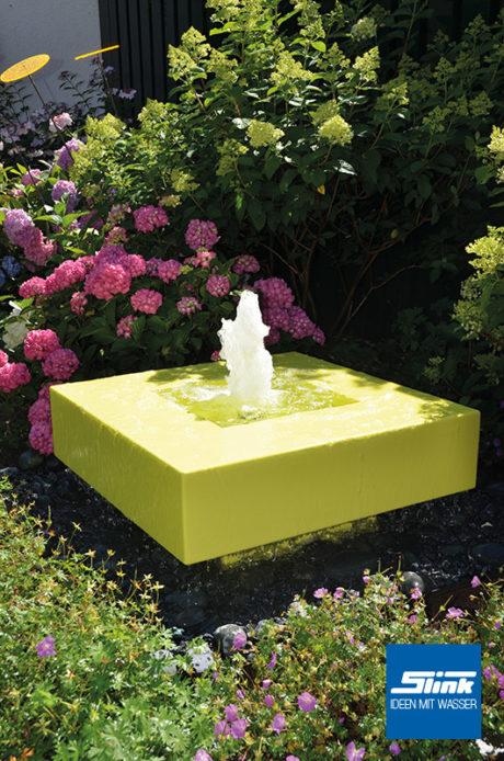 Gartenbrunnen Aluminium modern Bauhausstil Design farbig Alumento Alubrunnen Springbrunnen Wasserspiel im Garten