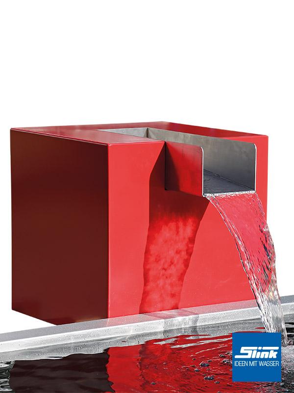 Garten wasserfall aluminium quader kjaer slink ideen mit wasser for Brunnen modern wasserfall