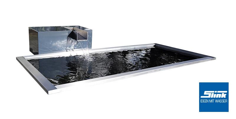 Garten wasserfall aluminium kubus kjaer slink ideen mit wasser for Brunnen modern wasserfall