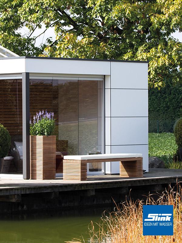 Bank und Pflankübel Naturteak Gartenbank Design Garten Blumentopf Holz
