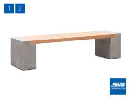 Variante 2 Modulbank Betonoptik – 1 x Beton-Teak-Bank lang
