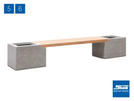 Variante 6 Modulbank Betonoptik – 1 x Beton-Teak-Bank lang, 2 x Gefäß