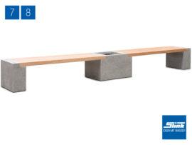 Variante 8 Modulbank Betonoptik – 2 x Beton-Teak-Bank lang, 1 x Gefäß