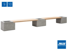 Variante 10 Modulbank Betonoptik – 2 x Beton-Teak-Bank lang, 3 x Gefäß